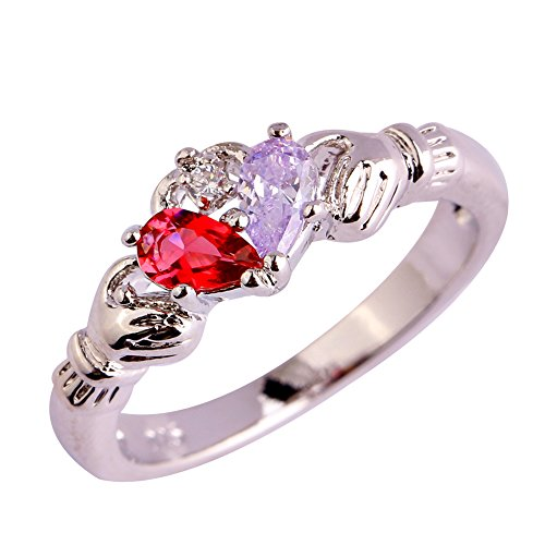 (Psiroy Women's 925 Sterling Silver Created Tourmaline Filled Claddagh Anniversary Ring Size 9)