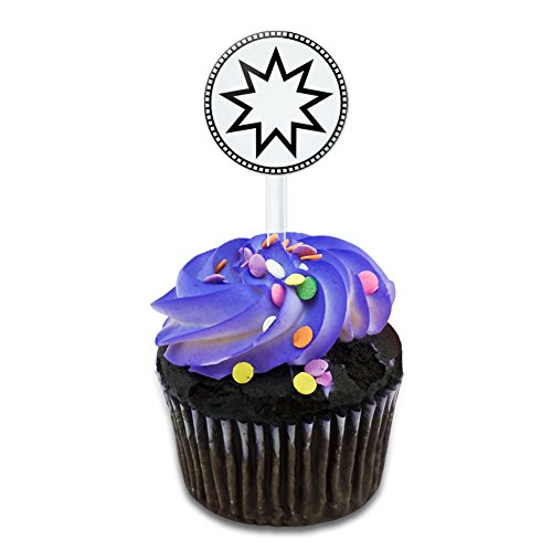 Bahai Star Cake Cupcake Toppers Picks Set