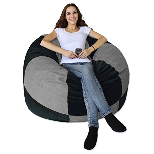 koze fom Shredded Foam Bean Bag 50-inch Black and Grey