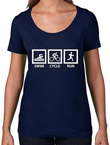 Swim Cycle Run - Womens Scoop Neck T-Shirt- 7 Colors Navy - Run Swim Cycle