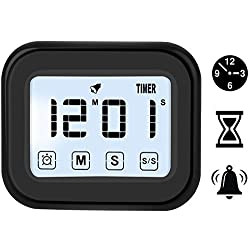 Digital Touchscreen Alarm Clock & Kitchen Timer with Magnetic Backing, Have Ring/Mute Alarm
