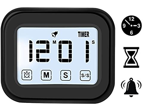Digital Touchscreen Alarm Clock & Kitchen Timer with Magnetic Backing, Have Ring/Mute Alarm (Kitchen Digital Clock)