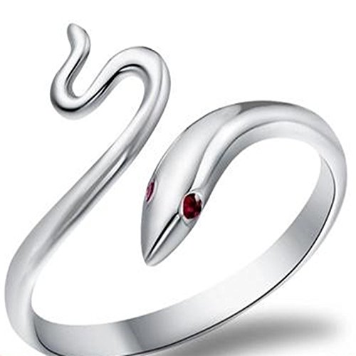 Wansan Silver Ring Snake Shape Open Rings Jewelry Accessory Valentines Day Birthday Gift for Women Girls