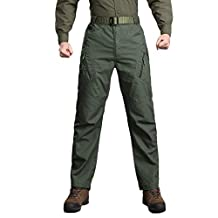 HTHJSCO Men's Casual Cargo Pants, Tactical Military Army Combat Outdoors Work Trousers