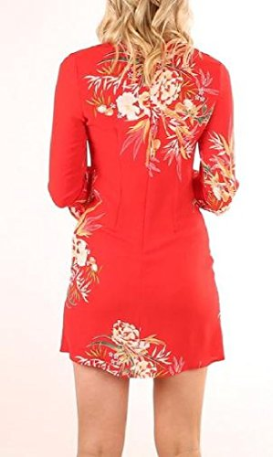 Printed Red Sleeves Coolred Crewneck Flare Mini Floral Long Women's Dress wYatzq1