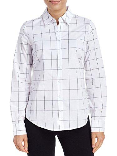 Windowpane Plaid Shirt (Long Sleeve Stretch Woven Windowpane Plaid Shirt (Small))