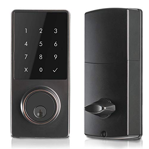 Electronic Deadbolt Smart Door Lock, LED Touch Screen Keypad, Bluetooth Smart Phone Enabled Keyless Access, Easy to Install, Oaks Smart Lock (Smart Lock) (Door Front Access)