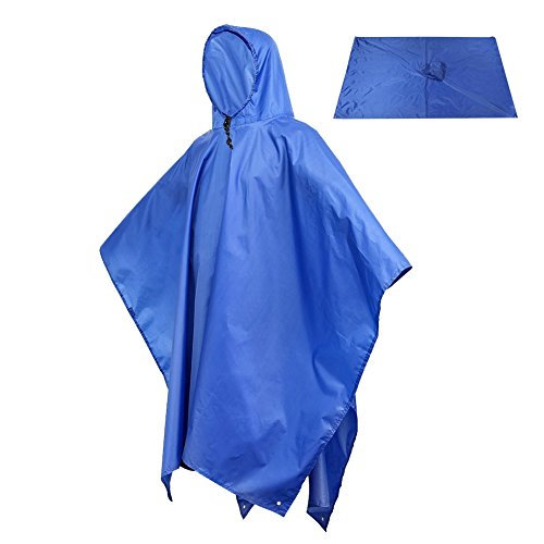 Sotical Veamor Rain Poncho, 3 in 1 Multifunctional Portable Raincoat with Hood Hiking Camping Mat Cycling Rain Cover Poncho for Outdoor Activities (Blue) by Sotical Veamor