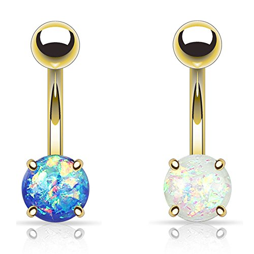 UNU Style 2pcs Stainless Steel Opal Glitter Belly Button Navel Ring (F: Gold IP White/Blue)