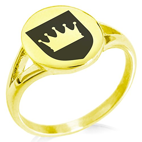 Tioneer Gold Plated Stainless Steel Crown Royal Coat of Arms Shield Symbol Minimalist Oval Top Polished Statement Ring, Size 6 by Tioneer