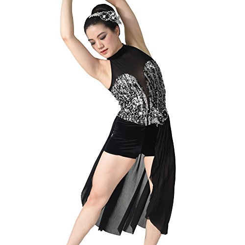 MiDee High Neck Deep-V Illusion Tank Top Sequined Lyrical Dance Costume Dress (XLA, Black) (Dance Costumes For Competition Lyrical)