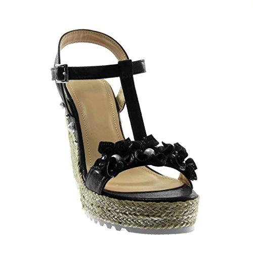 Angkorly Zapatillas Moda Sandalias Alpargatas Correa Plataforma Correa de Tobillo Mujer Flores Perla Brillantes Plataforma 12 cm Negro