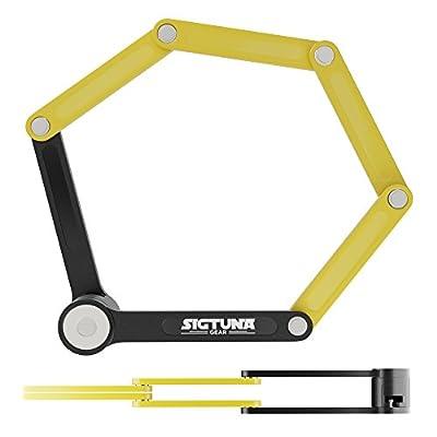 "SIGTUNA Folding Bike Lock – Heavy Duty Fold Bike Lock with 1.3"" Alloy Steel Bars and Rivets + sturdy Mounting Bracket with non-slip Velcro Straps"