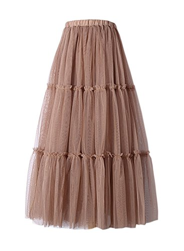 Futurino Women's Waistband A-line Ankle Length Mesh Layered Tulle Skirt Wedding