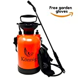 Könnig 1.3 Gallon Lawn, Yard and Garden Pressure Sprayer for Chemicals, Fertilizer, Herbicides and Pesticides with Free Pair of Garden Gloves