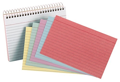 Oxford Spiral Ruled Index Cards, 4 x 6 Inches, Assorted Colors, 50 per Pack (40286)