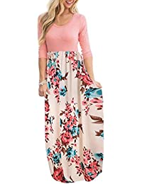 Women's Maxi Dress Floral Printed Autumn 3/4 Sleeve...