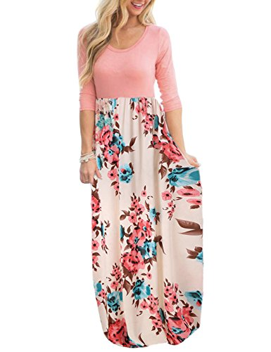 DUNEA Women's Maxi Dress Floral Printed Autumn 3/4 Sleeve Casual Tunic Long Maxi Dress (XX-Large, Beige) (3/4 Sleeve Tunic Wrap)