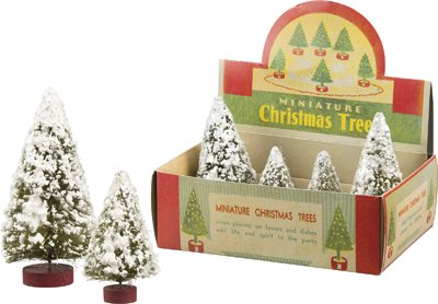 Snowy Mini Bristle Trees - Set of 8