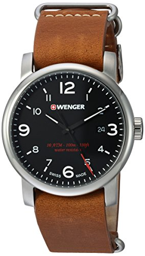 Wenger Men's 'Urban Metropolitan' Swiss Quartz Stainless Steel and Leather Casual Watch, Color:Brown (Model: 01.1041.136)