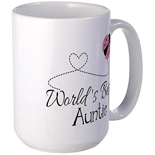 CafePress World's Best Auntie Ladybug Large Mug Coffee Mug, Large 15 oz. White Coffee Cup