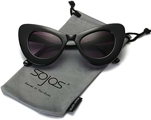 SojoS SJ2028 Cat Eye Celebrity Flat Lenses Street Fashion Party Women Sunglasse