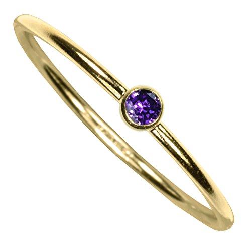 uGems 14kt Gold Filled Amethyst-Color CZ Stacking Ring Size 6