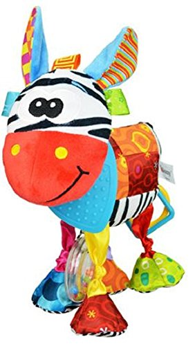 Colorful Hanging Baby Zebra with Rattle and Teether for Stroller or Crib,Generic