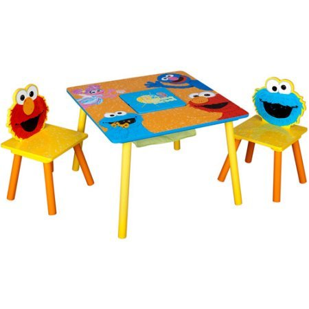 (Sesame Street Storage Wood, Plastic and Metal Toddler|Kids Table and Chairs Set Includes Table and 2 Chairs with Storage Compartment with Puzzle)