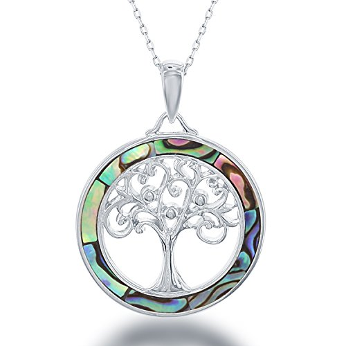 ted Opal, MOP or Abalone Tree of Life Circle Pendant 18