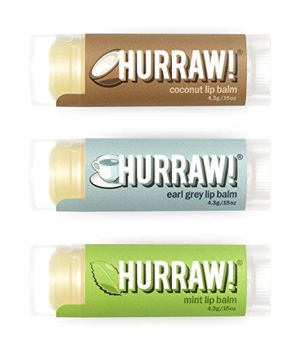 Hurraw Coconut, Earl Grey, Mint Lip Balms, 3 Pack Bundle