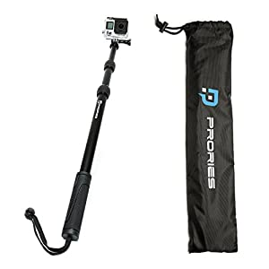 PRORIES Action Selfie Stick for GoPro Hero & Session, Action Cams - Best Aluminum Waterproof Monopod - Extends 17-40 Inch. - Aluminum Tripod Mount, Thumb Screw, Carrying Bag, Phone Holder