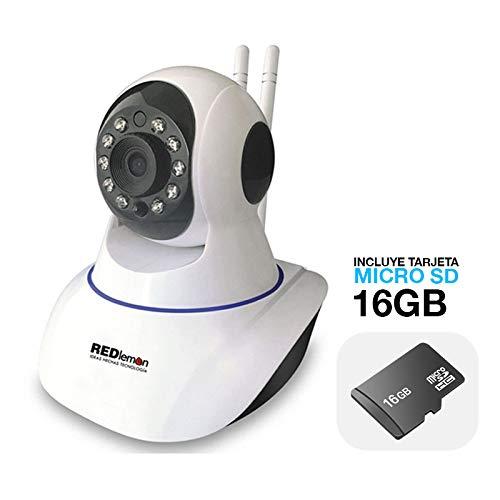 REDLEMON Cámara De Seguridad WiFi IP, High Definition, con Visión Nocturna, para Interiores, Alarma de Detección de...