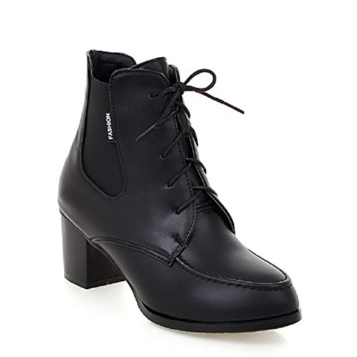 Top Heels Toe AmoonyFashion Women's Lace Round Kitten Up Boots Closed Solid Black Low EvHvwqf