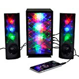 3D Colorful LED Stereo Speakers Light Show Bookshelf Speaker with 4 inch Woofer Subwoof Audio, Music HiFi Bass Volume 3.5mm Stereo Jack Dual 3W Speakers for Desktop PC Laptop Smartphone iPhone (Pair)