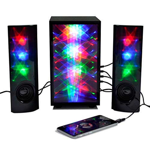 3D Colorful LED Stereo Speakers Light Show Bookshelf Speaker with 4 inch Woofer Subwoof Audio, Music HiFi Bass Volume 3.5mm Stereo Jack Dual 3W Speakers for Desktop PC Laptop Smartphone iPhone (Pair) by Sinobright