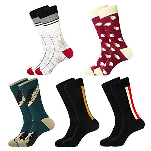 Dress Socks for Men & Women,Colorful Funny Crazy Novelty Fun Dress Socks Pack, Bonangel Cool Pattern Crew Socks Gift for Men]()