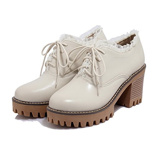 Odomolor Women's Solid PU High-Heels Lace-up Round-Toe Pumps-Shoes, Beige, 34
