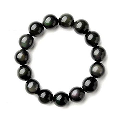NewYork Offer Shop Men's Tiger Eye Stone Bracelet Dragon King Pattern Bead (Black, 6mm)