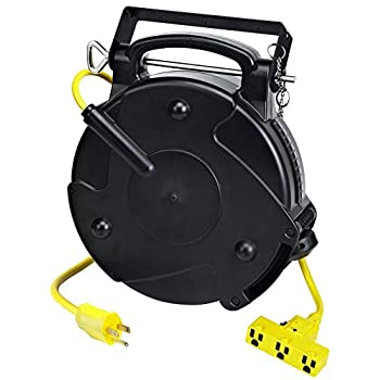 Image of Extension Cords Alert Stamping 8150M-P Heavy Duty Industrial Retractable Extension Cord Reel w/Tri-Tap, 50 ft, Black, Yellow