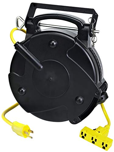 - Alert Stamping 8150M-P Heavy Duty Industrial Retractable Extension Cord Reel w/Tri-Tap, 50 ft, Black, Yellow