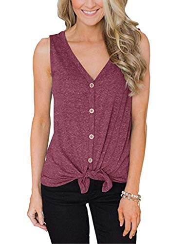 Womens Waffle Knit Tunic Blouse Henley Tops Button Up Tie Front Plain Shirts(Dark red-20 ()