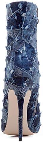 Insole Mujeres Cargadores del Tobillo, Dril De Algodón del Estilete Atractivo De Punta Estrecha Resorte Zapatos De Tacón Botas para Vida Diaria Club Partido,1,34
