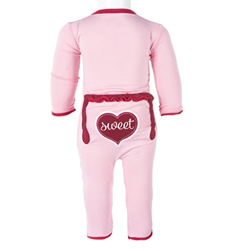 (KicKee Pants Little Girls Holiday Muffin Ruffle Applique Coverall- Lotus Sweet Heart, 5 Years)