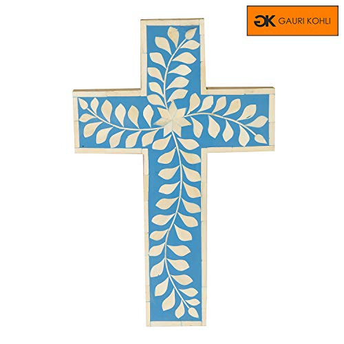 Blue Mother Of Pearl Cross - GAURI KOHLI Beautiful Hand Crafted Bone Inlay Celtic Cross Wall Hanging (Color Ocean Blue   Size Large)