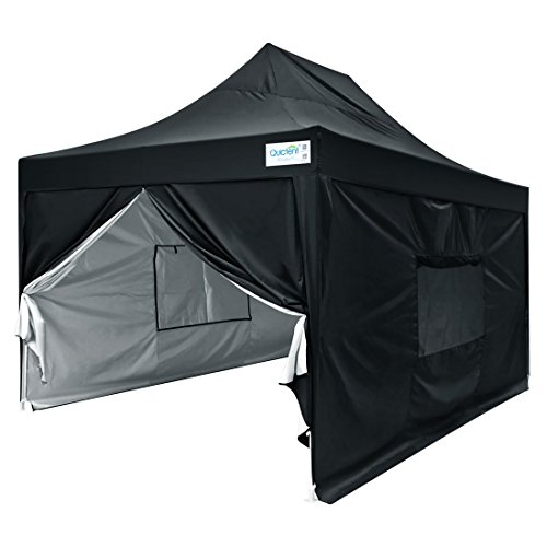 Quictent Upgraded Privacy 10×15 EZ Pop Up Canopy Tent Instant Folding Party Tent Photo Booth with Sidewalls and Wheeled Carry Bag Waterproof Black