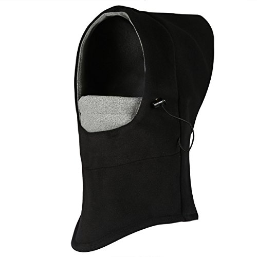 ONEDONE Balaclava Hat Double Layers Full Face Mask Winter Wind Stopper Face Mask For Outdoor Ski Bike Sports(black+grey)