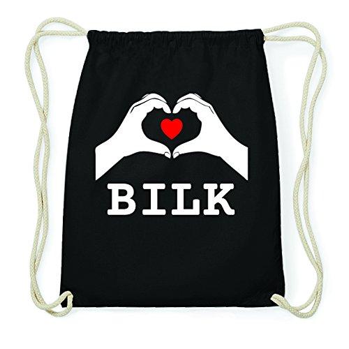 JOllify BILK Hipster Turnbeutel Tasche Rucksack aus Baumwolle - Farbe: schwarz Design: Hände Herz OejD5RWlK