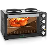 Upgraded NutriChef Turkey Roaster Thanksgiving Rotisserie Cooker Countertop Broiler with Dual Electric Burner