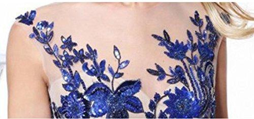 Lang Vintage Ballkleid Elegant Fashion mit Spitze Rundhals Ärmellos Brautjungfernkleid Dresses Damen Rückenfrei Tüll Transparent Blau Bodenlang Rhinestone Cocktailkleid Abendkleider Hochzeitskleid R5w8xEAt